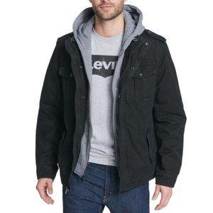 Levi's Men's Sherpa Lined Hooded Military Jacket, Black, Medium